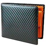 TLAGE[Amazon限定ブランド] 財布 メンズ 二つ折り カーボンレザー 牛革 小銭入れ カード6枚 オールインワン (Brown)