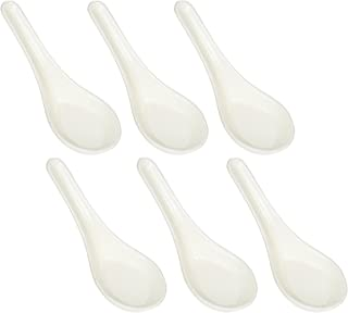 Happy Sales Melamine Soba, Rice Spoons, Chinese Won Ton Soup Spoon, Asian White, 6 Pack Plain Style