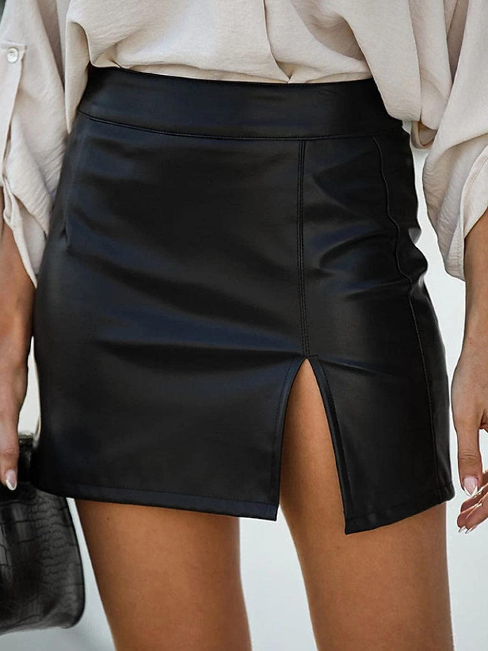 FWJSDPZ Fashionable Everyday Wear Tight Skirt Solid Color Split Black/Mini Skirt (Color : Black, Size : Small)