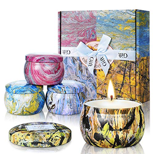 Scented Candles - Natural Gardenia Fig Lotus & Lilac Fragrance Soy Wax Candle Portable Travel Tin Candles,Gift Set for Women (Set of 4)