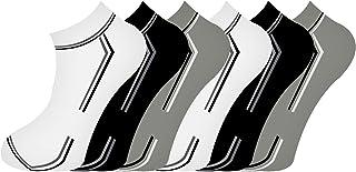 6 Pares Calcetines Deportivos de Algodón Calcetines cortos para Hombre, Transpirable Elástico Antideslizante Deporte Calcetín de corte bajo de algodón