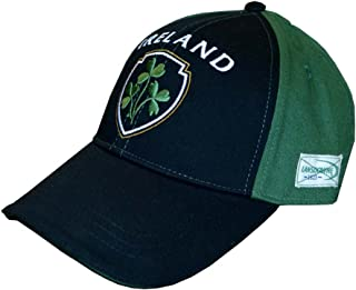 Baseball Cap with Half Green, Half Black with Embossed Ireland and Shamrock Crest