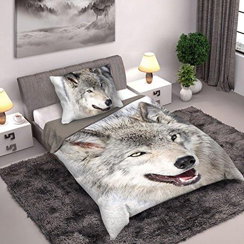 Wild Collection Wolf Einzelne Duvet Set 140 x 200cm / 70 x 90cm (Wolf 140 x 200)