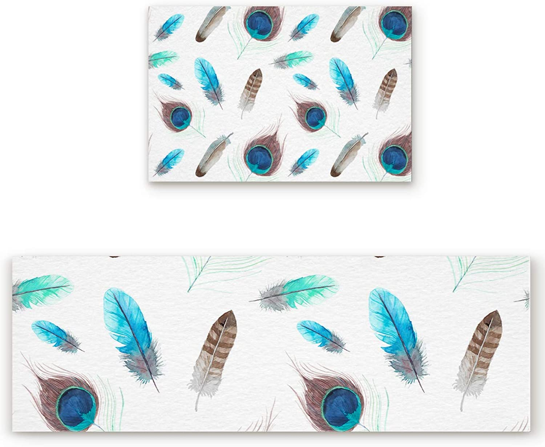 Savannan 2 Piece Non-Slip Kitchen Bathroom Entrance Mat Absorbent Durable Floor Doormat Runner Rug Set - Peacock Feather Pattern