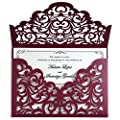 YIMIL 20 Pcs Laser Cut Wedding Invitation Cards with Envelopes for Wedding Quinceañera Birthday Engagement Bridal Shower Graduation Party (Burgundy)