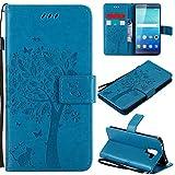 Ooboom® Huawei ShotX Hülle Katze Baum Muster Flip PU Leder Schutzhülle Handy Tasche Hülle Cover Standfunktion mit Kartenfächer für Huawei ShotX - Blau