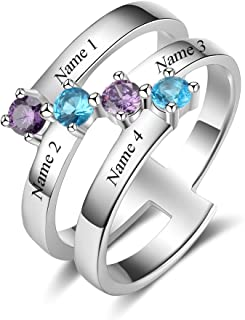 Custom Mother Rings 4 Simulated Birthstone Promise Grandma Daughters Rings Personalized Family Jewelry