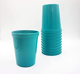 10 Pack - 16 oz Reusable Plastic Stadium Cups - Blank, Reusable or Disposable Unbreakable Tumblers Perfect for Any Party/Fiesta, or Customizable for Marketing and DIY Projects (Teal)