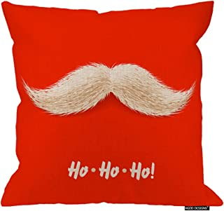 HGOD DESIGNS Christmas Square Pillow Cushion Cover,Funny Christmas Disguise Santa's Mustache with Hohoho Laugh Cotton Linen Cushion Covers Home Decorative Throw Pillowcases 18x18inch