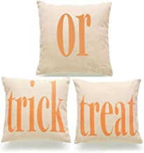 LEIOH 3Pack Happy Halloween Trick or Treat Pillow Covers Cotton Linen Sofa Home Decor Throw Pillow Case Cushion Covers 18 X 18 Inch