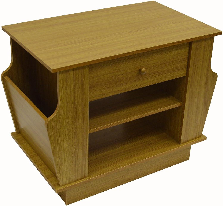 WATSONS COMPANION - Storage Side End Table with Magazine Rack - Oak