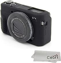 CEARI Silicone Case Rubber Camera Protective Cover Skin for Canon PowerShot G7X Mark II Digital Camera + Microfiber Cloth - Black