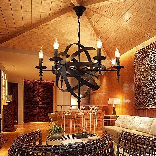 6-luces de techo redonda de la vela de la lámpara pendiente de la luz medieval castillo de estilo de hierro forjado lámparas colgantes Negro metal rústico iluminación for la sala de estar Pasillo Casa