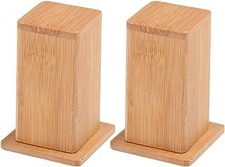 UPKOCH 2 Piezas Caja de Palillo de Bambú Tapa de Tanque Cuadrado Palillero Contenedor Contenedor Pluma de Escritorio Lápiz Olla Lápiz Labial Organizador para Cocina Casera