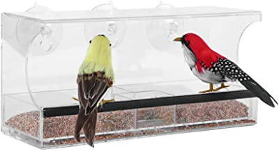 BAVISION Window Bird Feeder with 3 Super Strong Suction Cups Removable Seed Tray Drain Holes Made of Clear Strong 11,8 x 5 Inches Acrylic Glass Idea