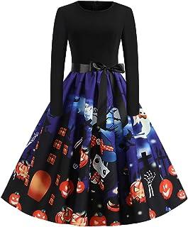 ReooLy Vintage-Langarm-Halloween 50s Hausfrau Partei-Abschlussball-Kleid Frauen
