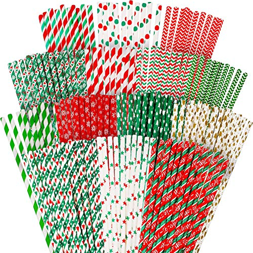 200 Pieces Christmas Drinking Straws Biodegradable Paper