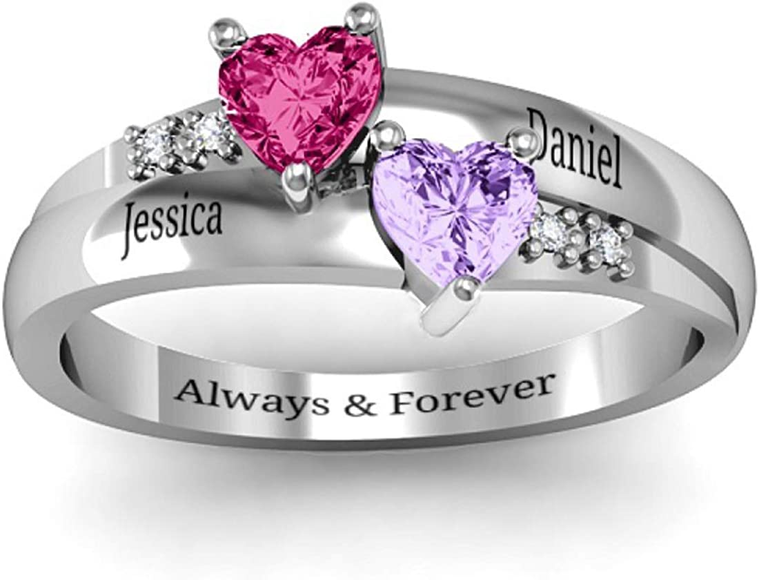 EVER2000 New Shipping Free Personalized Promise latest Rings with Birth Heart 2 Simulated