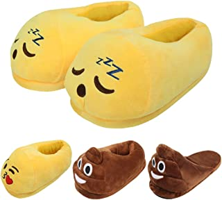 Slippers for Women Unisex Emoticons Slippers Plush Fluffy Cotton Slippers,Sleep Cute Warm and Comfortable Cute House Shoes for Indoor or Outdoor Yellow