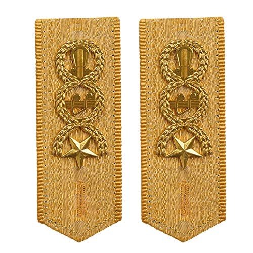 iiniim Uniforme Charreteras de Hombro Insignia para Hombros con Estrellas Bordados Capitán Piezas de los Hombros Oficial de Hombro Accesorios de Disfraces de Carnaval de Militares Amarillo One Size