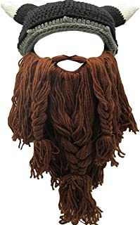 Adult Viking Beard Beanie Horn Hat Winter Warm Mask Hat Knitted Wool Funny Skull Cap