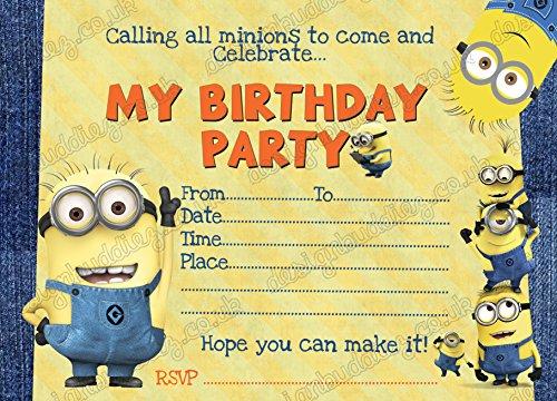 Despicable Me Minion 10x fiesta de cumpleaños invitaciones tarjetas de unidades de grosor y libre sobres