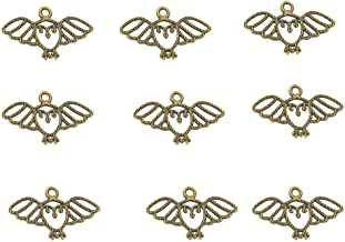 100pcs Vintage Antique Bronze Alloy Cute Animal Owl Bird Charms Pendant Jewelry Findings for Jewelry Making Necklace Bracelet DIY 27x15mm (100pcs Bronze)