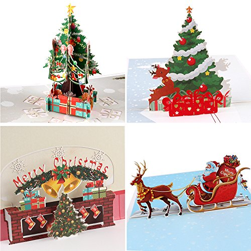 Coogam 3D Pop Up Christmas Cards, 4 Pack Blank Greeting Holiday Cards with Envelope New Year Handmade Gifts Xmas Galloping Reindeer Santa Bells Tree