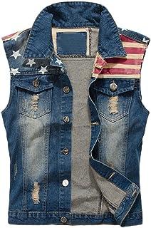 Men's Fit Retro Ripped Demin Sleeveless Lapel Jeans Gilets Jacket Vest Waistcoat