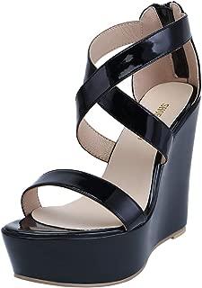 SHOESFEILD Women's Wedge Sandals Open Toe Crisscross Strap Platform High Heels Dress Shoes