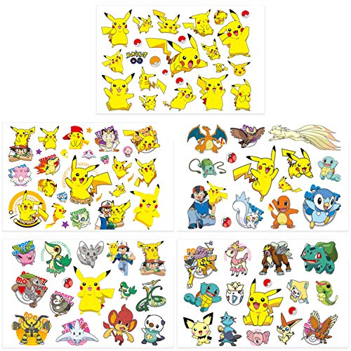 Qemsele Tatuajes Temporales para Niños Niñas, 10 Sheets 200+ Pcs Hojas Dibujos Animados Tatuaje Falso Pegatinas para piñata Niños Infantiles Fiesta de cumpleaños Regalo Bolsas Relleno (Pikachu)