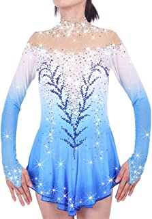Kmgjc Figure Skating Dress Women's Girl's Ice Skating Dress Spandex Blue
