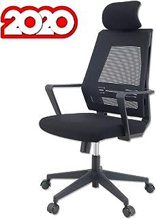 KLIM™ K300 Office Chair - Silla de Oficina ergonómica con reposacabezas + Cojín y Tela Suaves + hasta 135 kg + Silla de Escritorio con Ruedas para Oficina y casa + 5 años de garantía + Nueva 2020