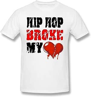 DeMaXIy Men Hip Hop Broke My Heart Trend White T-Shirt