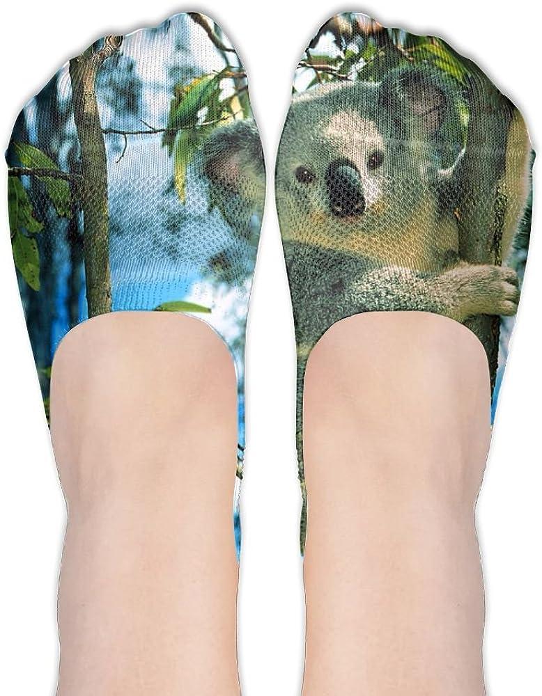 YISHOW Cute Animal Koala Climb In Trees No-Show Socks Casual Anti Slip Low Cut Crew Boat Sock Hidden Flat Line