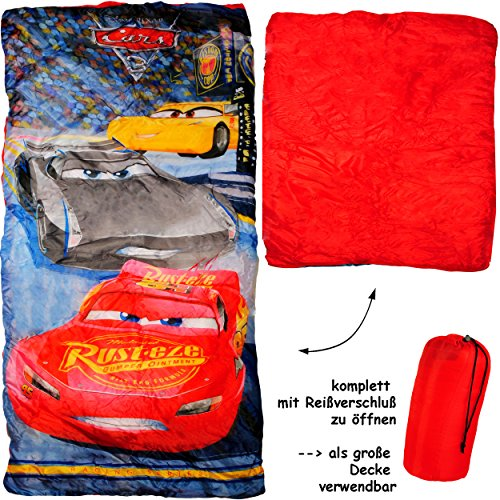 alles-meine.de GmbH 2 in 1 : Schlafsack & XL Decke - 150 cm -  Disney Cars / Lightning McQueen - Auto  - komplett aufklappbar - Kinder sehr leicht - Kinderschlafsack / für Jung..