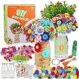 Yojoloin Lavoretti Creativi per Bambini Ragazzo Ragazza 5 6 7 8 Anni,Bricolage Kit DIY Vaso con Bottoni Bouquet e Colorati Fiore,Materiale Scolastico Regalo Bambino