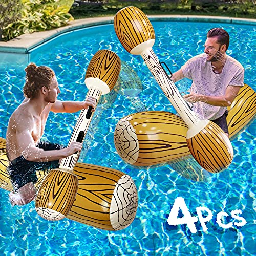 """TURNMEON 4 Pcs Inflatable Pool Fighting Float Row Toys Battle Log Rafts for 2 Players Adults Children Summer Pool Party Water Sports Games Float Toys Swimming Pool Water Toys (57"""" x 14"""")"""