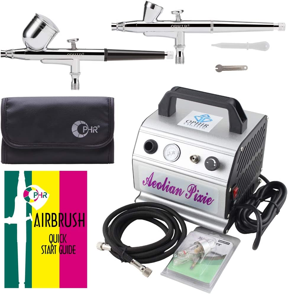 OPHIR 2-Airbrush Fixed price for sale Kit 0.2mm 0.3mm Dual Jacksonville Mall w Paint Action Gun Gravity