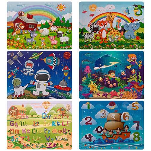 Puzzle Madera niños, Swonuk 60 Piezas Rompecabezas Madera Bebe, Include Animales, numeros, Letras, Regalo para niños(6 Paquetes, 60 Piezas)
