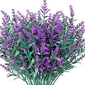 3 bunches of artificial flowers artificial lavender flowers, flocking lavender bouquets, wedding eternal flowers purple lavender silk flowers, with ceramic vases, suitable for home garden decoration