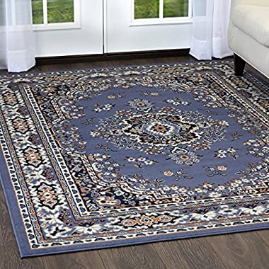 Home Dynamix Premium Sakarya Area Rug by Traditional Persian-Inspired Carpet | Stylish Medallion Print and Classic Boarder Design | Blue, Navy, Cream, Brown 7'8  x 10'7