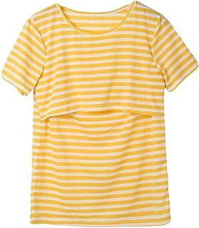 VincentDeep Women Breastfeeding Shirt Striped Patchwork Short Sleeve Maternity Breastfeeding and Nursing Tops (XXL, Yellow)