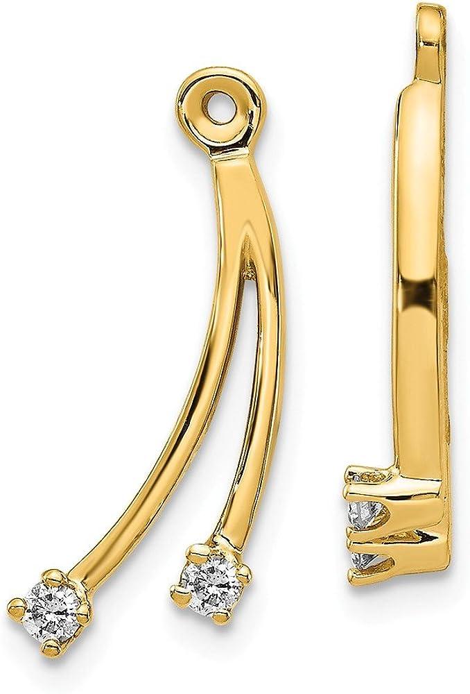 Solid 14k Yellow Gold VS Diamond earring jacket - 20mm x 9mm (.14 cttw.)