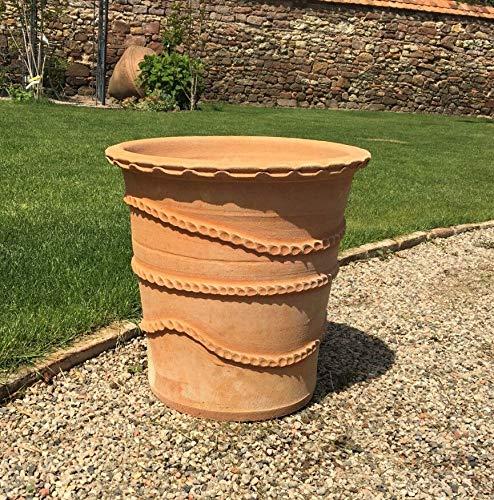 Pot de fleurs rond en terre cuite torsadée à la main - 50 cm - Pour jardin, terrasse, acanthus 40 cm