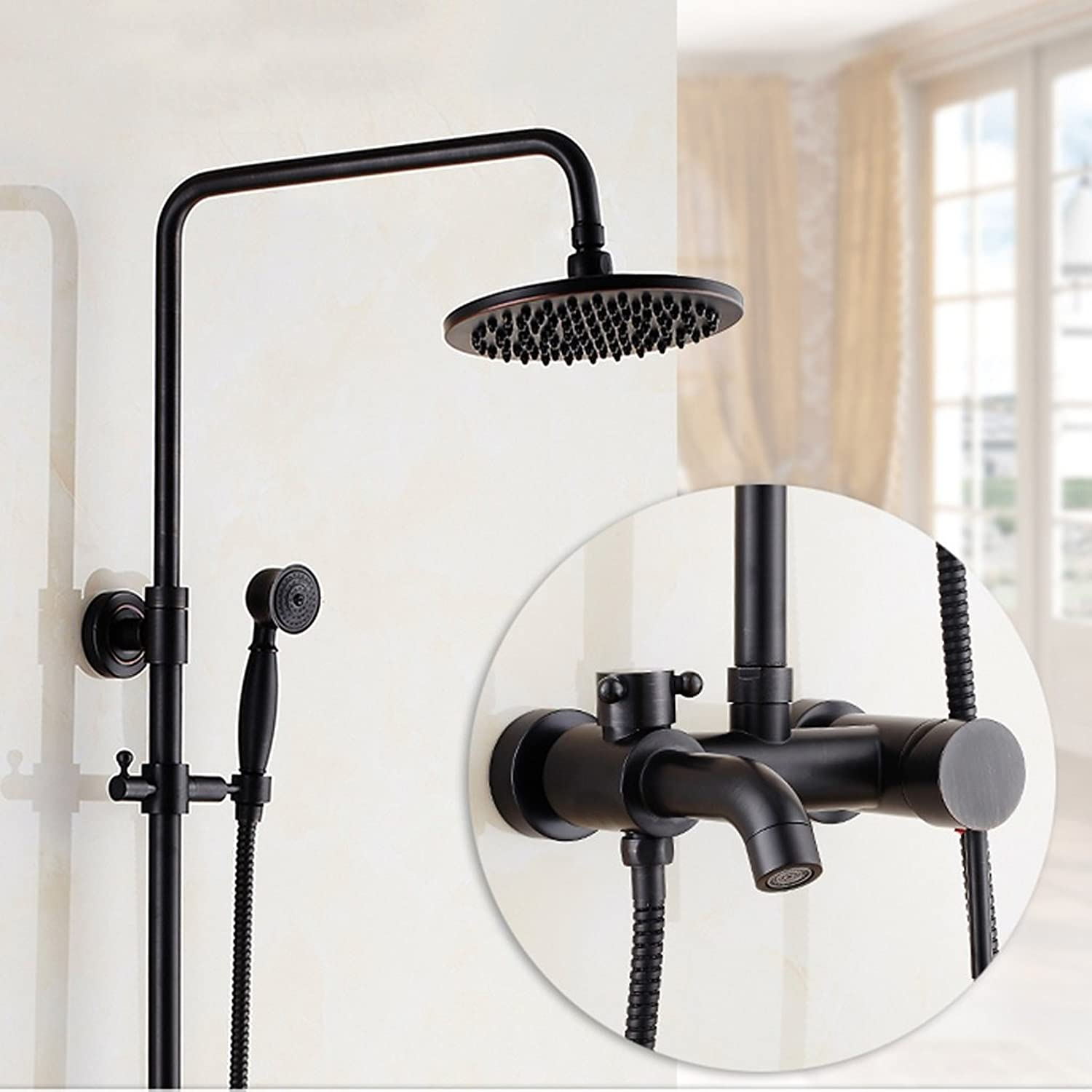 LJ Black Shower Antique Shower Suits Full Copper European Style Shower Head Faucet Can Lift Up And Down ( Size   B )