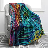 Jekeno Peacock Feathers Colorful Blanket Soft Warm Print Throw Blanket for Women Adults Gift 50'x60'