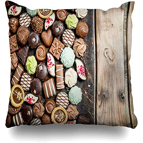 Kissenbezüge,Brown Sortiment Schokolade Süßigkeiten Auf Holzbrett Essen Trinken Praline Assorted Belgischen Geburtstag Bonbon Mit Reißverschluss Kissenbezug Home Decor Kissenbezug 45*45 Cm