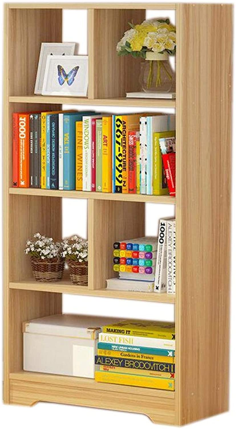 JCAFA Shelves Bookcase Bookcase 4-Layer Multi-Grid Storage Cube Multifunctional Storage Bookcase Floor Stand Suitable for Home Office (color   Wood color, Size   19.68  6.69  47.24in)