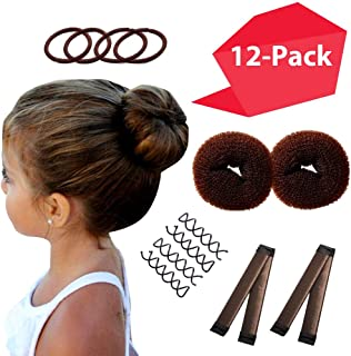 Brown Magic 发泡塑形器 8 包 迷你发束   *好小发束的必需品   2 个甜圈 + 2 个按扣发针 + 4 个旋转发针   芭蕾发泡机 儿童   简易发泡女生女孩